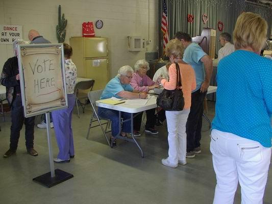 Kathy & John getting ready to vote